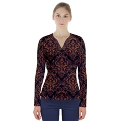 DAMASK1 BLACK MARBLE & RUSTED METAL (R) V-Neck Long Sleeve Top