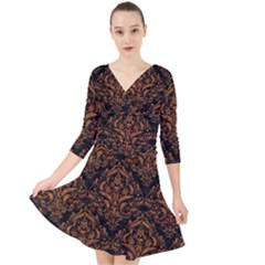 DAMASK1 BLACK MARBLE & RUSTED METAL (R) Quarter Sleeve Front Wrap Dress