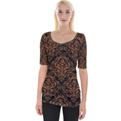 DAMASK1 BLACK MARBLE & RUSTED METAL (R) Wide Neckline Tee