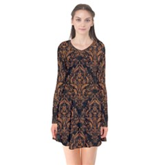DAMASK1 BLACK MARBLE & RUSTED METAL (R) Flare Dress
