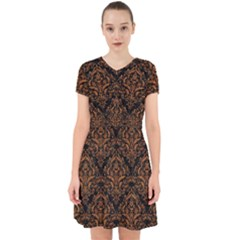 DAMASK1 BLACK MARBLE & RUSTED METAL (R) Adorable in Chiffon Dress