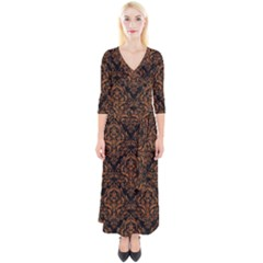 DAMASK1 BLACK MARBLE & RUSTED METAL (R) Quarter Sleeve Wrap Maxi Dress