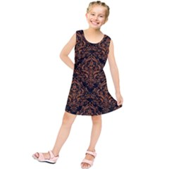 DAMASK1 BLACK MARBLE & RUSTED METAL (R) Kids  Tunic Dress