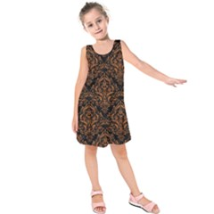 DAMASK1 BLACK MARBLE & RUSTED METAL (R) Kids  Sleeveless Dress