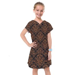 DAMASK1 BLACK MARBLE & RUSTED METAL (R) Kids  Drop Waist Dress