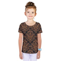 DAMASK1 BLACK MARBLE & RUSTED METAL (R) Kids  One Piece Tee