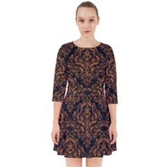 DAMASK1 BLACK MARBLE & RUSTED METAL (R) Smock Dress