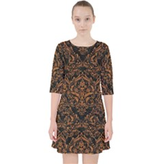 DAMASK1 BLACK MARBLE & RUSTED METAL (R) Pocket Dress