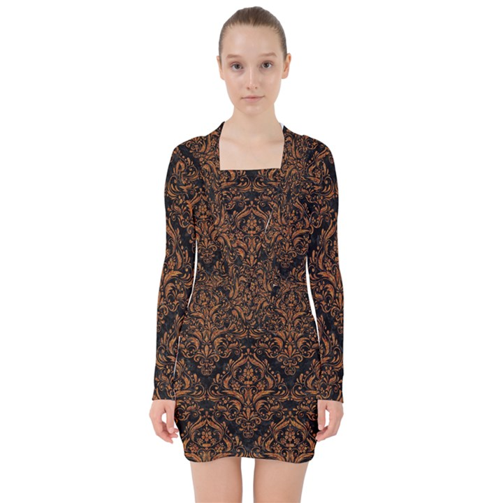 DAMASK1 BLACK MARBLE & RUSTED METAL (R) V-neck Bodycon Long Sleeve Dress