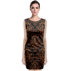 DAMASK1 BLACK MARBLE & RUSTED METAL (R) Sleeveless Velvet Midi Dress