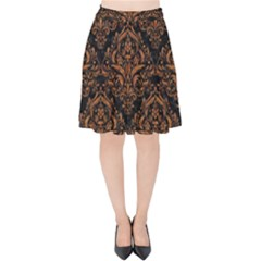 DAMASK1 BLACK MARBLE & RUSTED METAL (R) Velvet High Waist Skirt