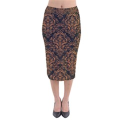 DAMASK1 BLACK MARBLE & RUSTED METAL (R) Velvet Midi Pencil Skirt