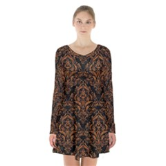 DAMASK1 BLACK MARBLE & RUSTED METAL (R) Long Sleeve Velvet V-neck Dress