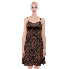 DAMASK1 BLACK MARBLE & RUSTED METAL (R) Spaghetti Strap Velvet Dress