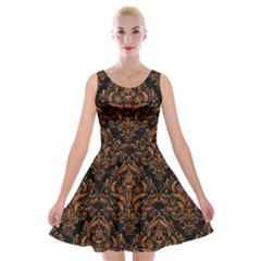 DAMASK1 BLACK MARBLE & RUSTED METAL (R) Velvet Skater Dress