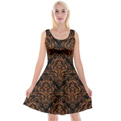 DAMASK1 BLACK MARBLE & RUSTED METAL (R) Reversible Velvet Sleeveless Dress