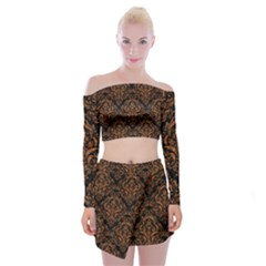 DAMASK1 BLACK MARBLE & RUSTED METAL (R) Off Shoulder Top with Mini Skirt Set