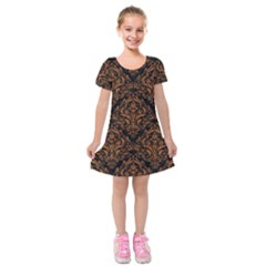 DAMASK1 BLACK MARBLE & RUSTED METAL (R) Kids  Short Sleeve Velvet Dress