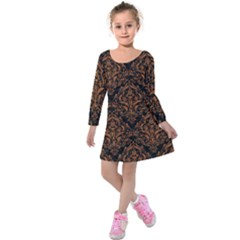DAMASK1 BLACK MARBLE & RUSTED METAL (R) Kids  Long Sleeve Velvet Dress