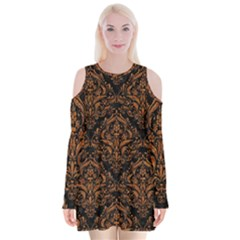 DAMASK1 BLACK MARBLE & RUSTED METAL (R) Velvet Long Sleeve Shoulder Cutout Dress