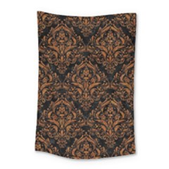DAMASK1 BLACK MARBLE & RUSTED METAL (R) Small Tapestry