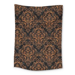 DAMASK1 BLACK MARBLE & RUSTED METAL (R) Medium Tapestry
