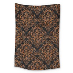DAMASK1 BLACK MARBLE & RUSTED METAL (R) Large Tapestry