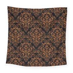 DAMASK1 BLACK MARBLE & RUSTED METAL (R) Square Tapestry (Large)