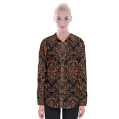 DAMASK1 BLACK MARBLE & RUSTED METAL (R) Womens Long Sleeve Shirt