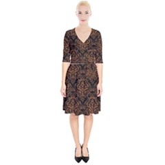 DAMASK1 BLACK MARBLE & RUSTED METAL (R) Wrap Up Cocktail Dress