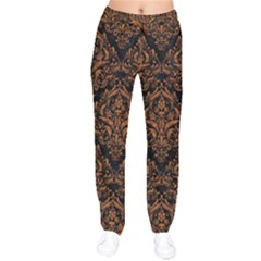 DAMASK1 BLACK MARBLE & RUSTED METAL (R) Drawstring Pants