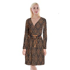 DAMASK1 BLACK MARBLE & RUSTED METAL (R) Long Sleeve Velvet Front Wrap Dress