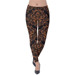 DAMASK1 BLACK MARBLE & RUSTED METAL (R) Velvet Leggings