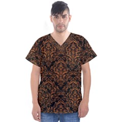 DAMASK1 BLACK MARBLE & RUSTED METAL (R) Men s V-Neck Scrub Top
