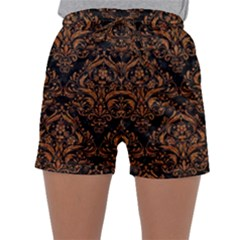 DAMASK1 BLACK MARBLE & RUSTED METAL (R) Sleepwear Shorts