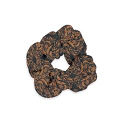 DAMASK1 BLACK MARBLE & RUSTED METAL (R) Velvet Scrunchie