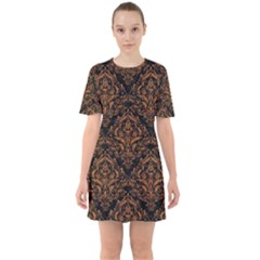 DAMASK1 BLACK MARBLE & RUSTED METAL (R) Sixties Short Sleeve Mini Dress