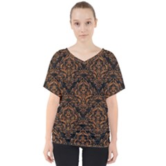 DAMASK1 BLACK MARBLE & RUSTED METAL (R) V-Neck Dolman Drape Top