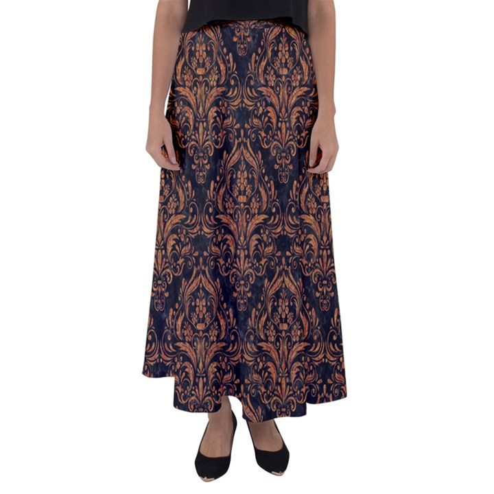 DAMASK1 BLACK MARBLE & RUSTED METAL (R) Flared Maxi Skirt