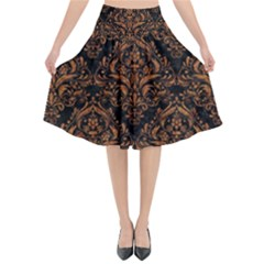 DAMASK1 BLACK MARBLE & RUSTED METAL (R) Flared Midi Skirt