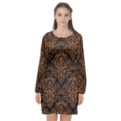 DAMASK1 BLACK MARBLE & RUSTED METAL (R) Long Sleeve Chiffon Shift Dress