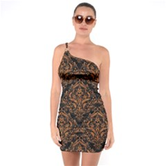 DAMASK1 BLACK MARBLE & RUSTED METAL (R) One Soulder Bodycon Dress