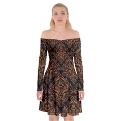 DAMASK1 BLACK MARBLE & RUSTED METAL (R) Off Shoulder Skater Dress