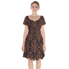 DAMASK1 BLACK MARBLE & RUSTED METAL (R) Short Sleeve Bardot Dress