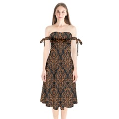 DAMASK1 BLACK MARBLE & RUSTED METAL (R) Shoulder Tie Bardot Midi Dress