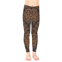 DAMASK1 BLACK MARBLE & RUSTED METAL (R) Kids  Legging