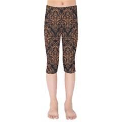 DAMASK1 BLACK MARBLE & RUSTED METAL (R) Kids  Capri Leggings