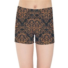 DAMASK1 BLACK MARBLE & RUSTED METAL (R) Kids Sports Shorts