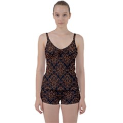 DAMASK1 BLACK MARBLE & RUSTED METAL (R) Tie Front Two Piece Tankini