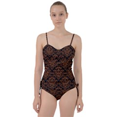 DAMASK1 BLACK MARBLE & RUSTED METAL (R) Sweetheart Tankini Set